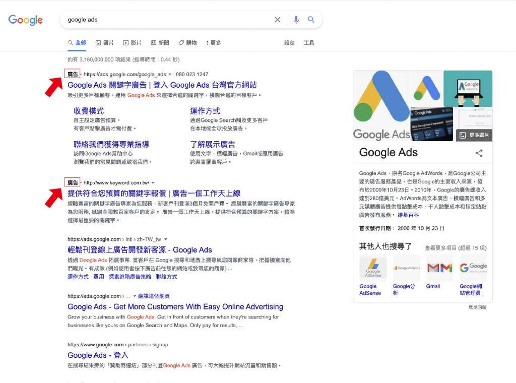通常在搜尋頁的最上方都會看到關鍵字廣告